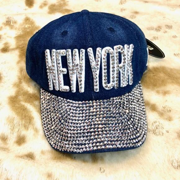 6e0b8aa1533 New York bling rhinestone denim snapback hat NWT